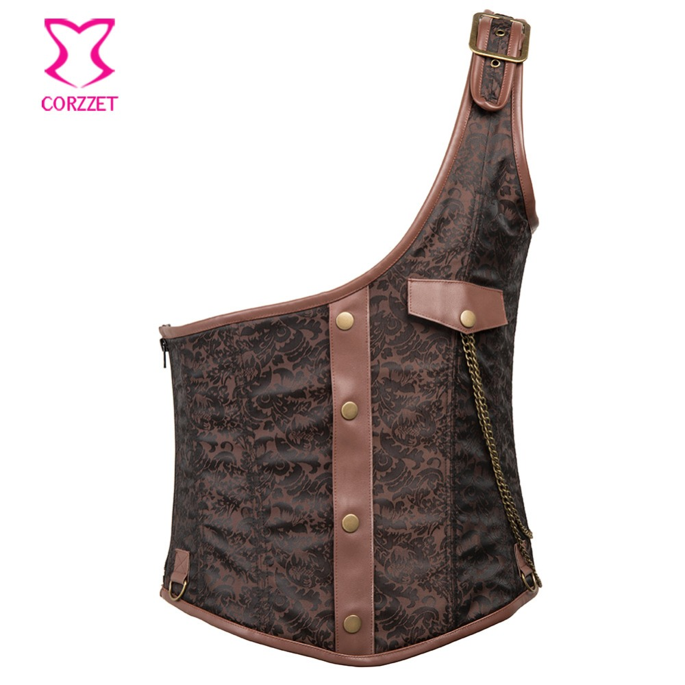 Brown Brocade Faux Leather One Shoulder Mens Steampunk Corset Vest Waistcoat Men Steel Underchest Colete Jacket Gothic Clothing