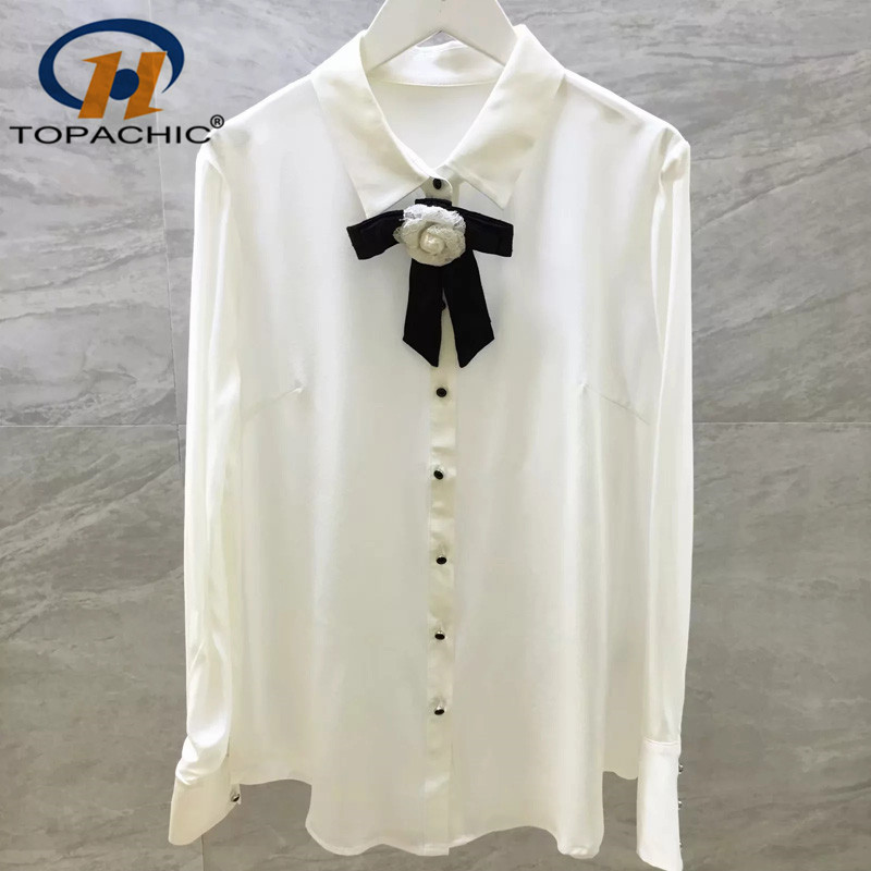 6 22 2019 Summer fashion The high quality Office Lady female Button Bow decoration Long sleeve