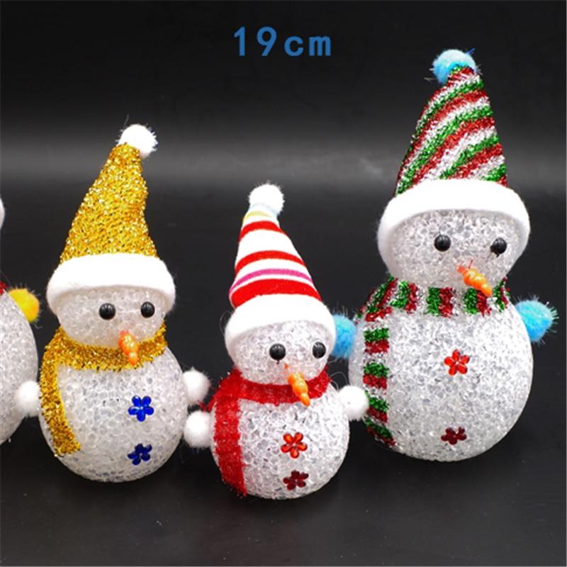 2 unids 19 cm Destello Colorido Muñeco de nieve de Navidad Copo de nieve de  Santa Claus La Noche del LED con Cuerda de La Caída de Regalo Decoraciones  ... b0a7c9b7a67