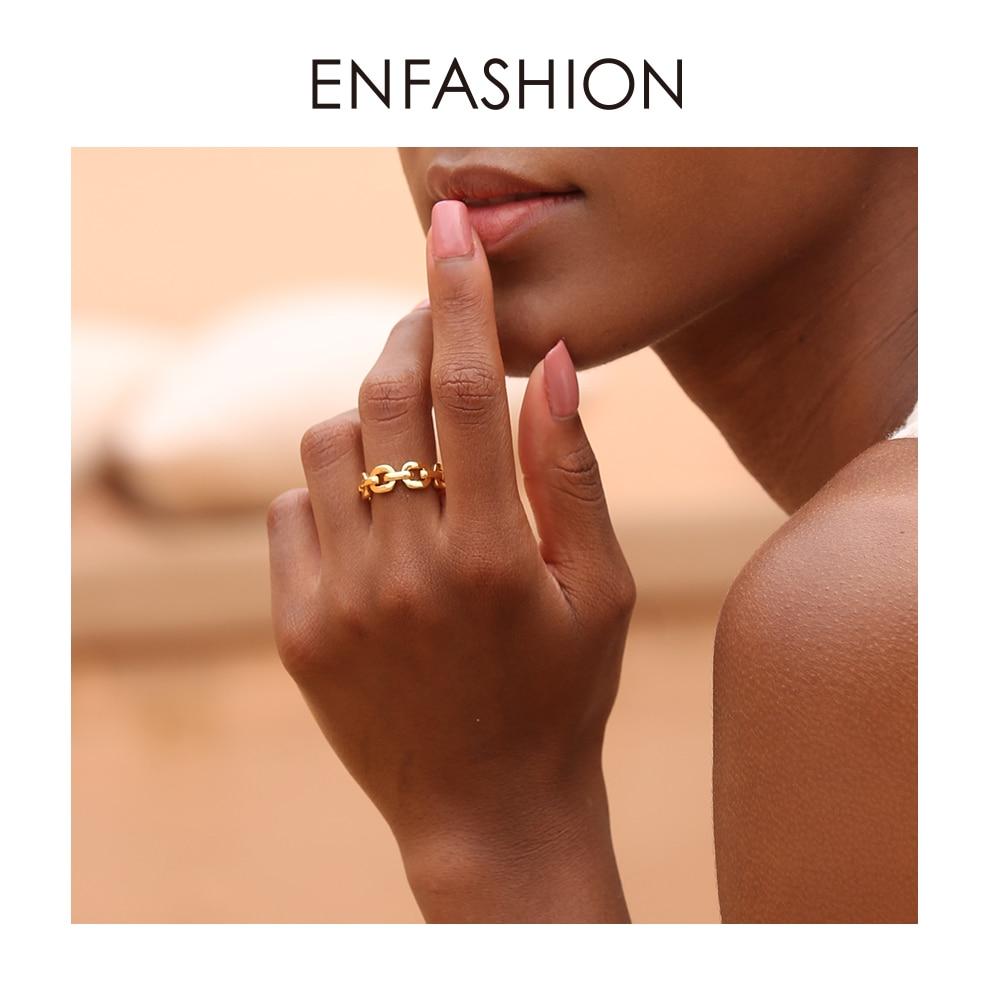 Enfashion Senhoras Cor Pura Forma Elo Da Cadeia Anel de Homens De Ouro Anéis Para As Mulheres Da Moda Jóias Bague Femme Homme Ringen RF184006