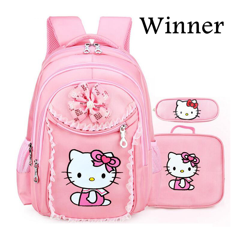 ae44b4b10d21 3PCS New Girl s School Bags Cartoon Princess Cat Pussy Kitty Kid Backpack  Children School Backpack Primary. sku  32826018175