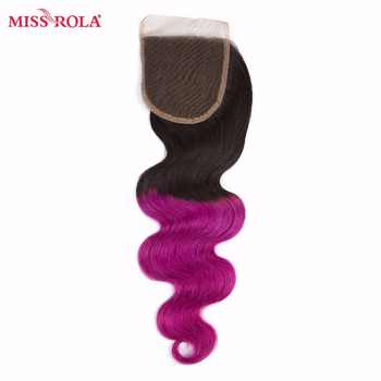 Miss Rola Hair Malaysian Body Wave Hair Weaving 3 Bundles With Closure #T1B/Purple Color 100% Human Non-Remy Hair Extensions