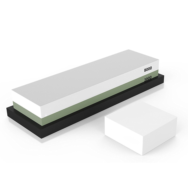 Hot sale Premium Sharpening Stone 2 Side Grit 3000/8000 Whetstone   Best Kitchen Knife Sharpener Waterstone with NonSlip Rubbe