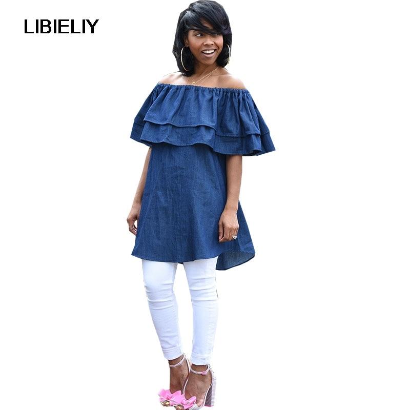 f78106652 Slash Masajeadores de cuello blusa de hombro ruffle manga camisa de  mezclilla mujeres elegantes verano POPs blusas azul mini vestido Plus size  ropa