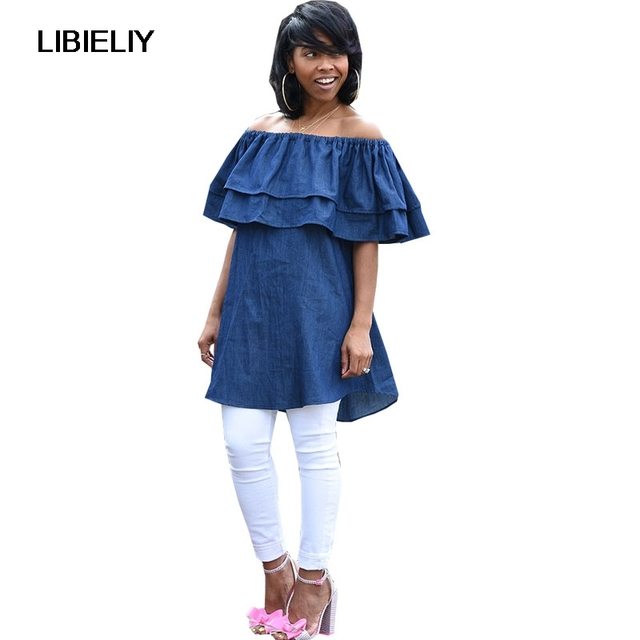 b419ff39c02 Slash Neck Off Shoulder Blouse Ruffle Sleeve Denim Shirt Elegant Women  Summer Pops Blusas Blue Mini Dress Plus Size Clothing
