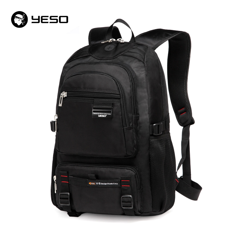 Yeso Black School Backpack Men 14 15.6 Inch Notebook School Bags For Teenager Waterproof Oxford Business Casual Backpack Mochila