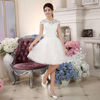 In Stock White Graduation Dresses 2016 Short A Line Lace with Sequined Lace Up Bandage Little Party Gowns for Homecoming Cheap