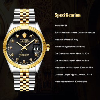 TEVISE Brand Watch Men Women Semi automatic Watches Fashion Luxury Mechanical Watch Waterproof Luminous Sport Casual Wristwatch