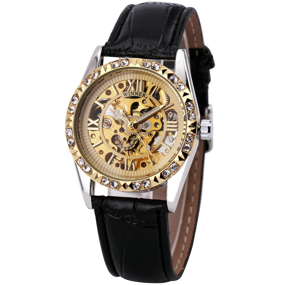 2017 Women Wrist Watches Top Brand Luxury Auto Mechanical Watches Crystal Decotated Relogio Feminino Skeleton Clock