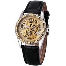 GANADOR de la Mujer Retro Brillante Luminoso Esqueleto Mecánico Atomatic Reloj Correa de Cuero Negro Romano Dial de Oro + Caja DE REGALO
