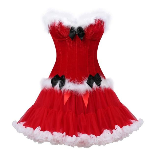 477bf33e23c christmas costume flannel bow fur overbust sexy red corset lingerie+skirt  gotico woman waist corset   bustier party burlesque