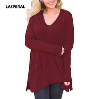 LASPERAL 2017 Casual Women Knitted Sweater Loose Pullover Solid Side Split Sweater Long Sleeve V Neck