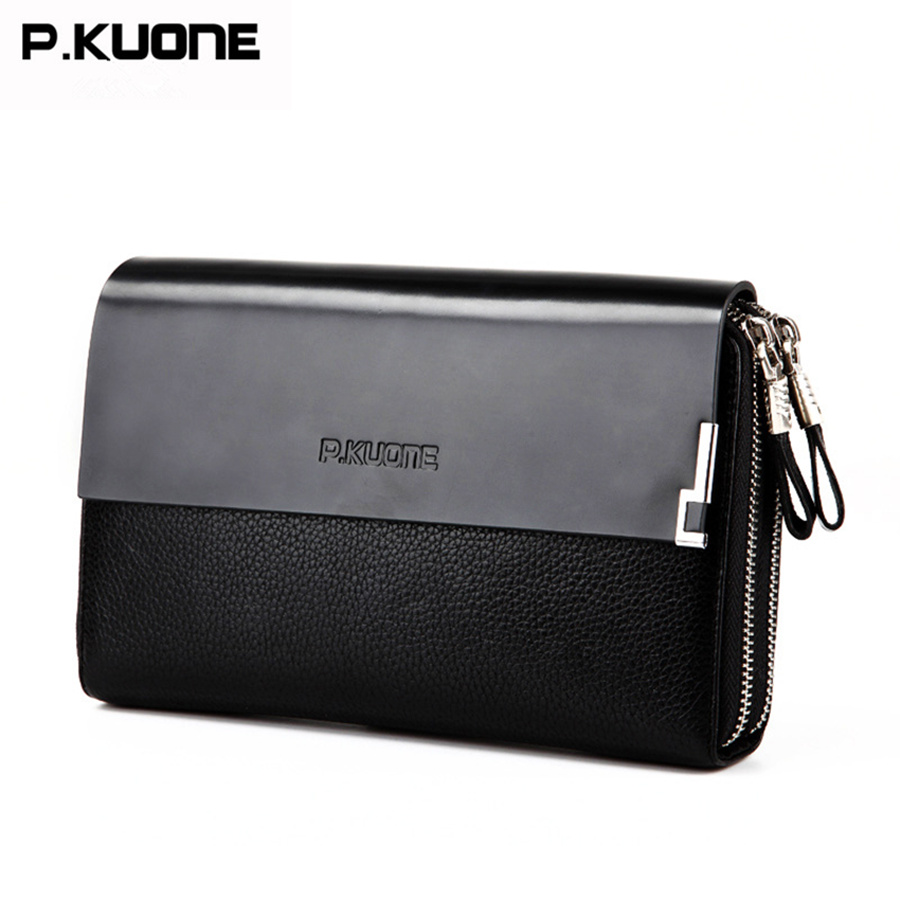 Double Zipper Famous Brand Men Wallets Genuine Leather Clutch Bag Men Cowhide Leather Purses Large Capacity Carteira MasculinaDouble Zipper Famous Brand Men Wallets Genuine Leather Clutch Bag Men Cowhide Leather Purses Large Capacity Carteira Masculina