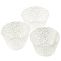 100pc Laser Cut Cupcake Wrapper Lace Wedding Cup Cake Wrappers Paper Cases Pink White Blue Purple