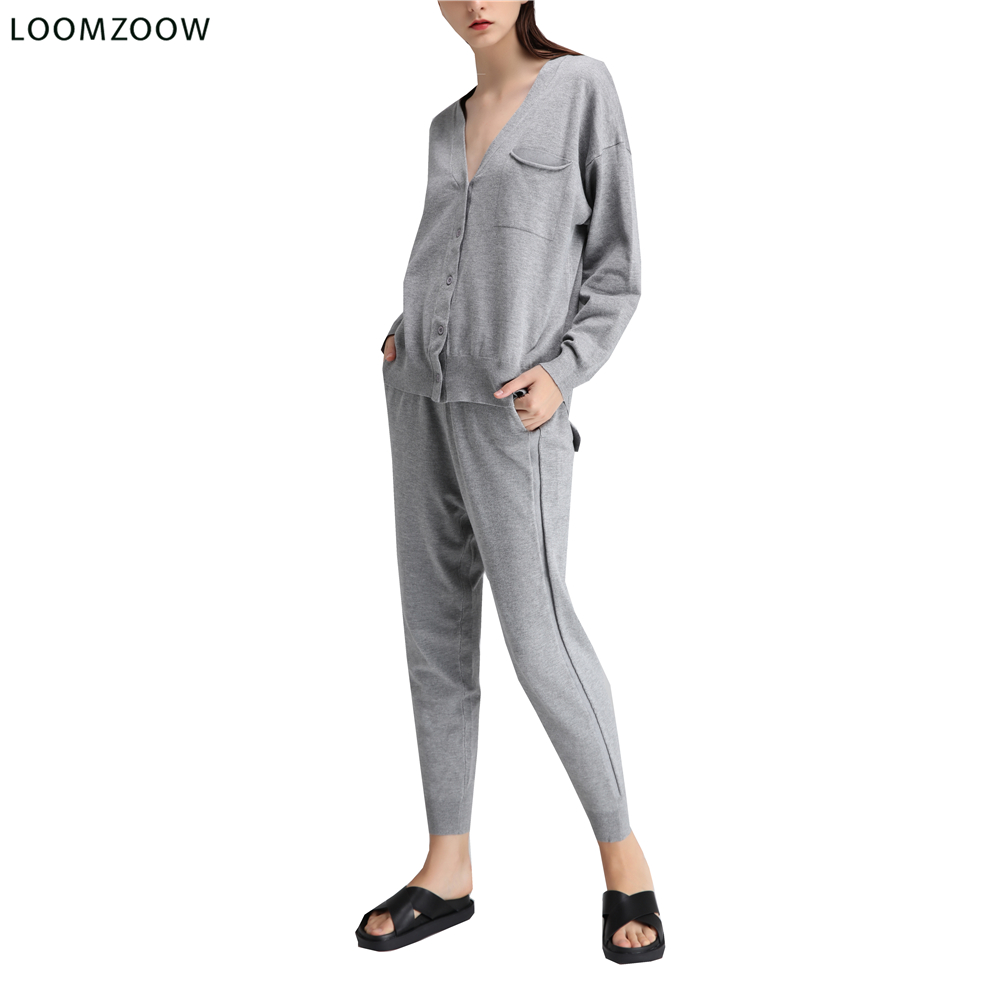 Two Piece Set 2018 Long Sleeve Top and Casual Pants Thin Knitted Cardigan+Trousers 2 Piece Set Women Outfit Suits Tracksuits