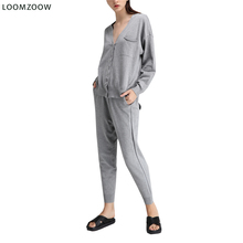 Two Piece Set 2018 Long Sleeve Top and Casual Pants Thin Knitted Cardigan Trousers 2 Piece