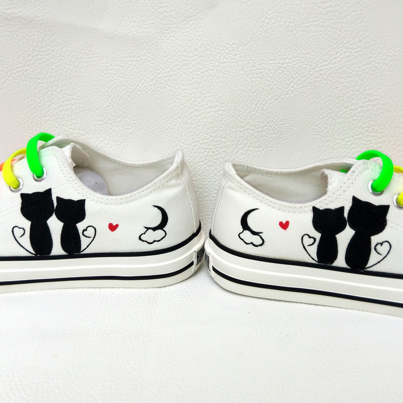 New Men Mans Boys Fashion Casual Canvas 3d fox Cats Animal White Cartoon Hand Painted Shoes Graffiti Lazy Shoelace Gift Footwear in Men 39 s Casual Shoes from Shoes