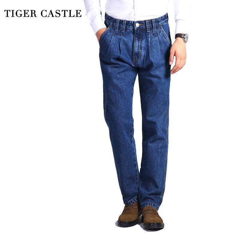 TIGER CASTLE Mens Thick Baggy Straight Jeans 100% Cotton Denim Overalls for Men Casual Designer Classic Men Jeans Trousers