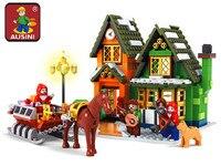 High Tech Toys Ausini Santa Claus Building Blocks City Post Office Assembling Blocks Hot Toy for Children Christmas Gift