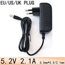 universal power For DC 5.2V 2.1A 2100mA Switching Power Supply AC Converter Adapter EU US UK Plug Wall adaptor 5.5mm*2.5mm/2.1mm