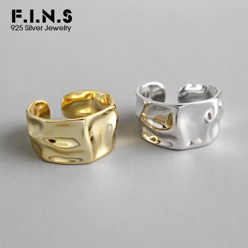 F.I.N.S Irregular 925 Esterlina Anéis de Prata Para As Mulheres De Largura Superfície Côncava Ins Estilo Moda Fine Jewelry Anel Aberto de Ouro 2019