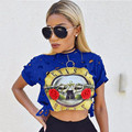 Foreign Trade New Product European Sexy Ma'am Round Neck Short Sleeve Guns And Rose Band Printing Navel Short Fund T Pity