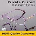 Design da marca titanium armação de óculos sem aro mulheres diamantes decorações claras lentes míopes óculos feminino/óculos para presbiopia 618