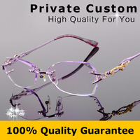 Brand Design Titanium Eyeglasses Rimless Women Diamonds Decorations Clear Lenses Female Myopic Glasses Presbyopic Glasses 618