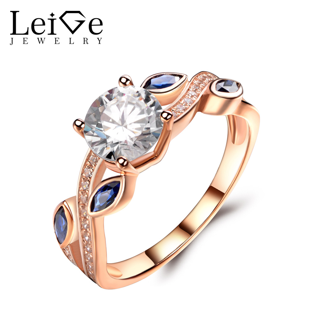 Leige Jewelry Moissanite Rings Rose Gold Wedding Engagement Leaf Rings for Women Round Cut Gemstone Delicate Fine Jewelry pair of delicate gemstone embellished ring leaf shape women s earrings
