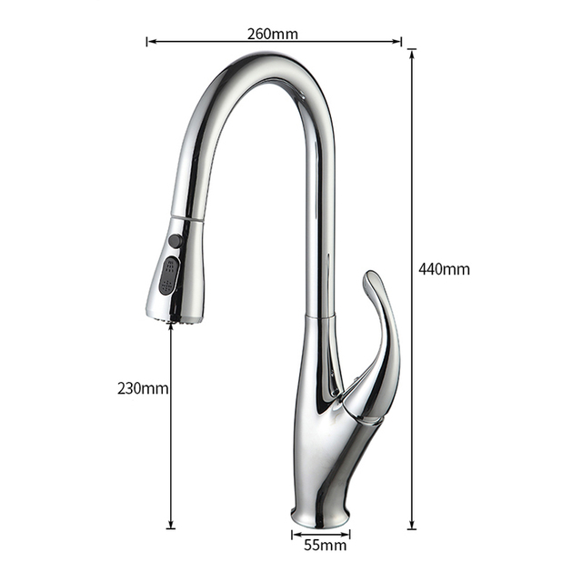 Brushed Nickel Kitchen Sink Mixers One Handle Stream Sprayer Shower head Deck Mounted Pull Out Kitchen Faucet Pull Down Hot Cold