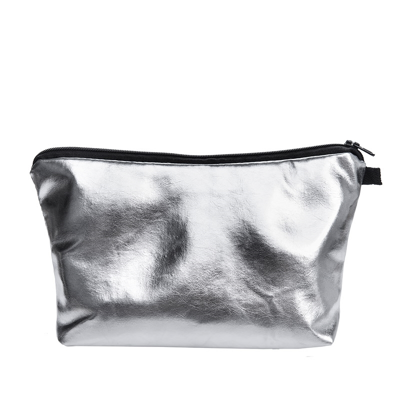 Silver PU Make up Bags For Ladies travel Women Portable Zipper Cosmetic Bag makeup organizer cosmetiqueras para maquillaje unicorn 3d printing fashion makeup bag maleta de maquiagem cosmetic bag necessaire bags organizer party neceser maquillaje