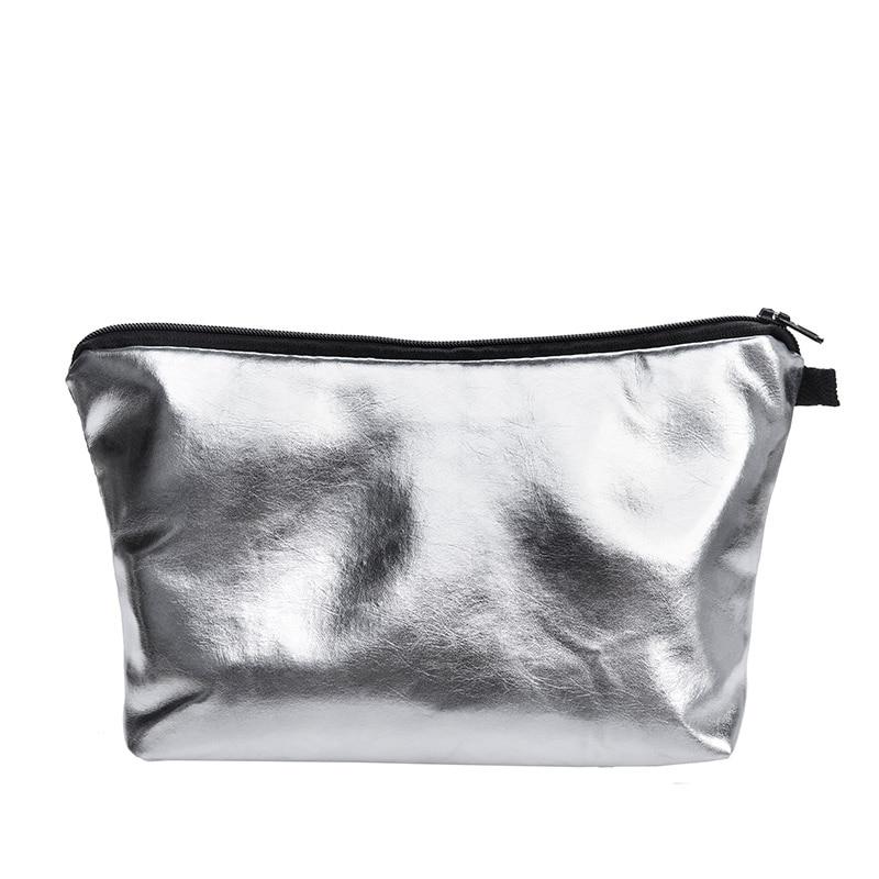 Silver PU Make up Bags For Ladies travel Women Portable Zipper Cosmetic Bag makeup organizer cosmetiqueras para maquillaje unicorn 3d printing fashion makeup bag maleta de maquiagem cosmetic bag necessaire bags organizer party neceser maquillaje