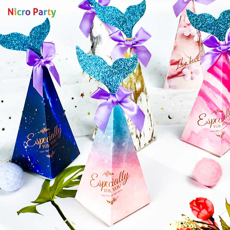 Nicro 20 pcs/set Mermaid Party Candy Boxes Little Party Supplies Theme DIY Gift Box For Kids Birthday Favor #GB13GB14