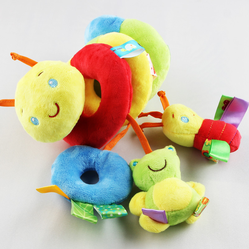 2018 Hot Cute Color Tag Bed Hanging Plush Toy Baby Appease Bell Rattle Around The Bed Crib Lathe Hanging Baby Rattle Infant Gift