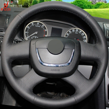 XUJI Black Leather Car Steering Wheel Cover for Skoda Octavia Superb 2012 Fabia Skoda Octavia a 5 a5 2012 2013 Yeti 2009-2013