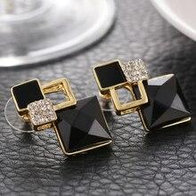 LASPERAL Luxurry Square Statement  Vintage Crystal Stud Earrings For Women Ladies Fashion Black Imitation Diamonds Big Earrings