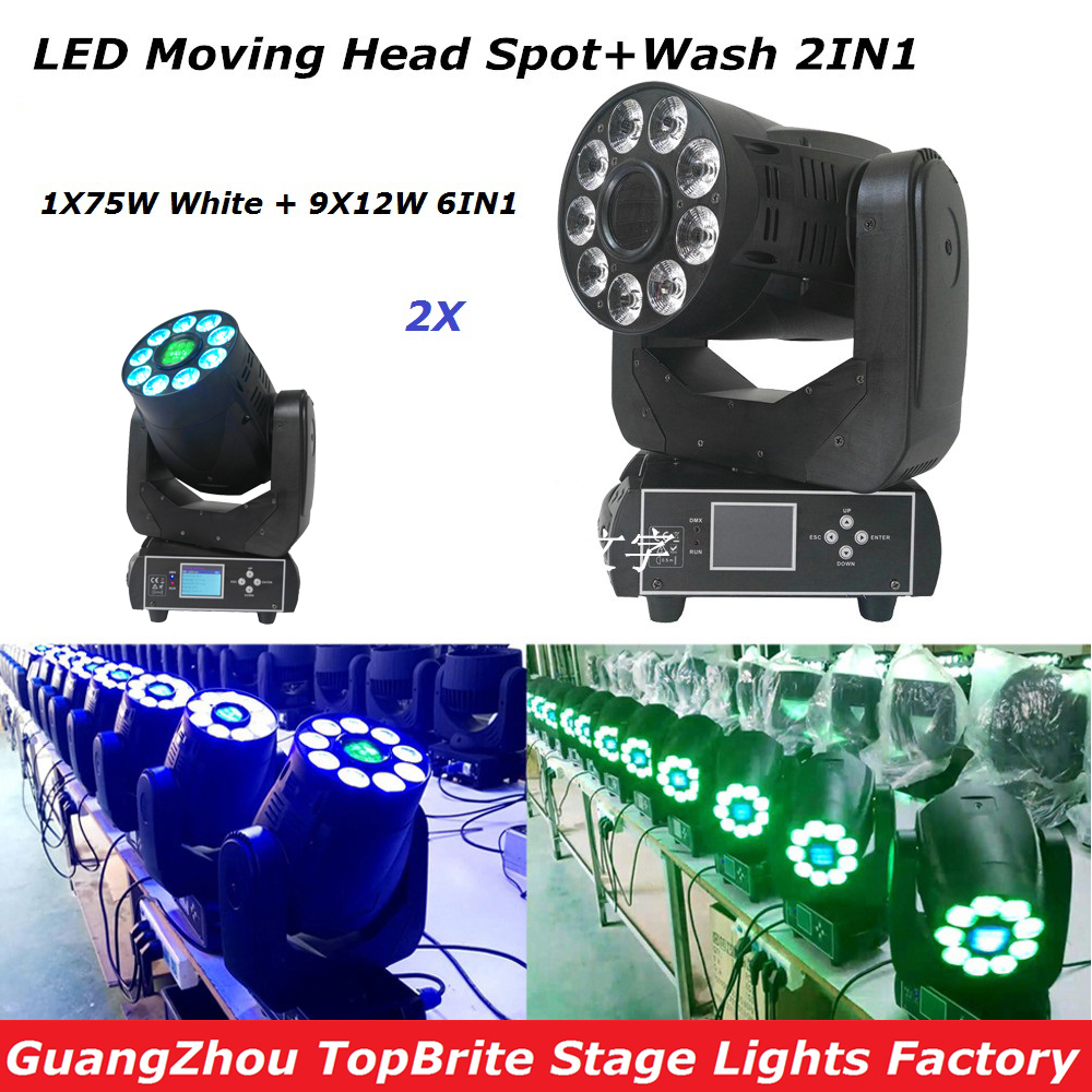 Free Shipping New 2xLot 1x75W LED Spot + 9*12W 6IN1 RGBWA UV Wash 2IN1 Led Moving Head Light For Stage Dj Disco Laser Light