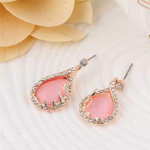 Rose różowy Rhinestone liść wisiorek dynda kolczyki naszyjnik zestaw biżuterii bisutería mujer