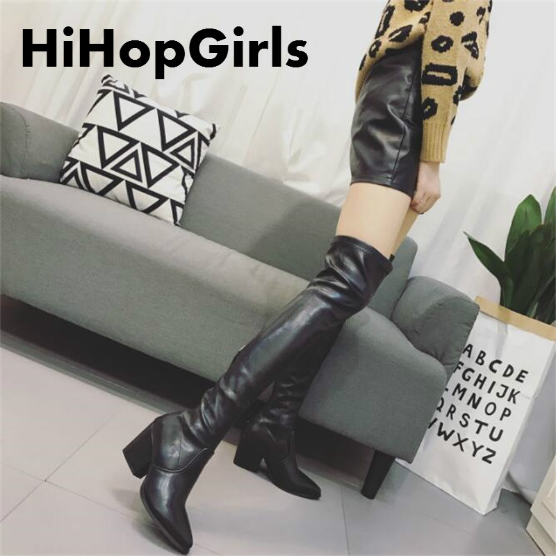 HiHopGirls Hot women winter Square heels Motorcycle boots pointed toe was thin Knee Pack legs shoes Flock snow boots #YIKHFDI564 hot selling 2015 women denim boots pointed toe tassel patchwork knee high boots crystal thin high heels winter motorcycle boots