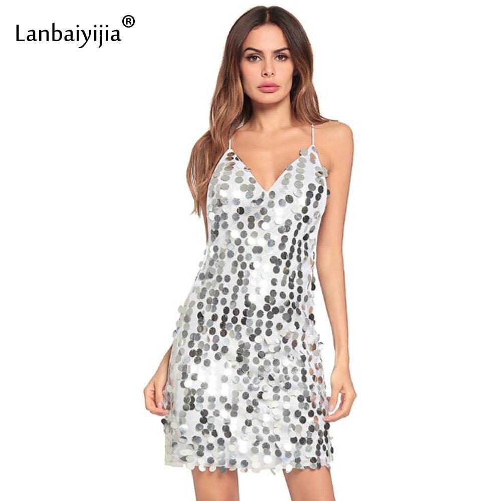 Lanbaiyijia Europe amérique chaude mince Paillette décoration profonde col en v Sexy robe femmes robe sangle crayon Mini robe 4 couleurs