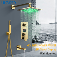 Ulgksd浴室のシャワー蛇口セットゴールデンledデジタルコールドとホットセラミックバルブミキサータップw/真鍮浴槽蛇口パラ風呂ducha