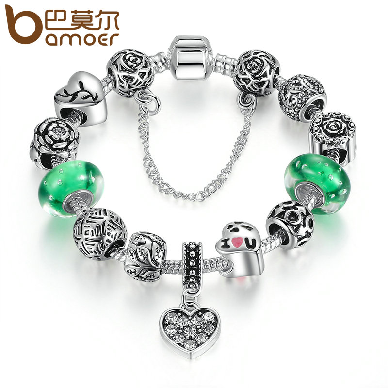 BAMOER Silver Color Green Glass Beads Safety Chain Snake Clasp Heart Pendant Charms Bracelet Women Ethnic Jewelry PA1899 mysterious green head heart bracelet