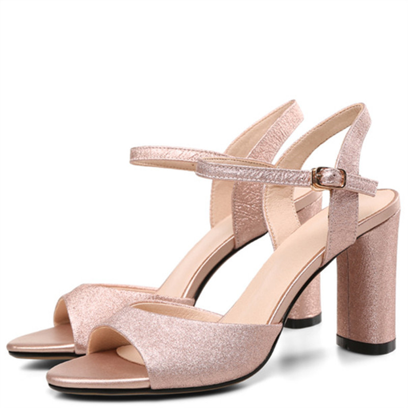 LOVEXSS Silvery Gold Peep Toe Sandals Fashion Sexy Party Open Toe Pumps Genuine Leather Big Size 33 43 High Heeled Shoes 2018 lovexss genuine leather sandals heel wedding party square toe black pink pumps high woman shoes plus size 33 43 sandals 2017
