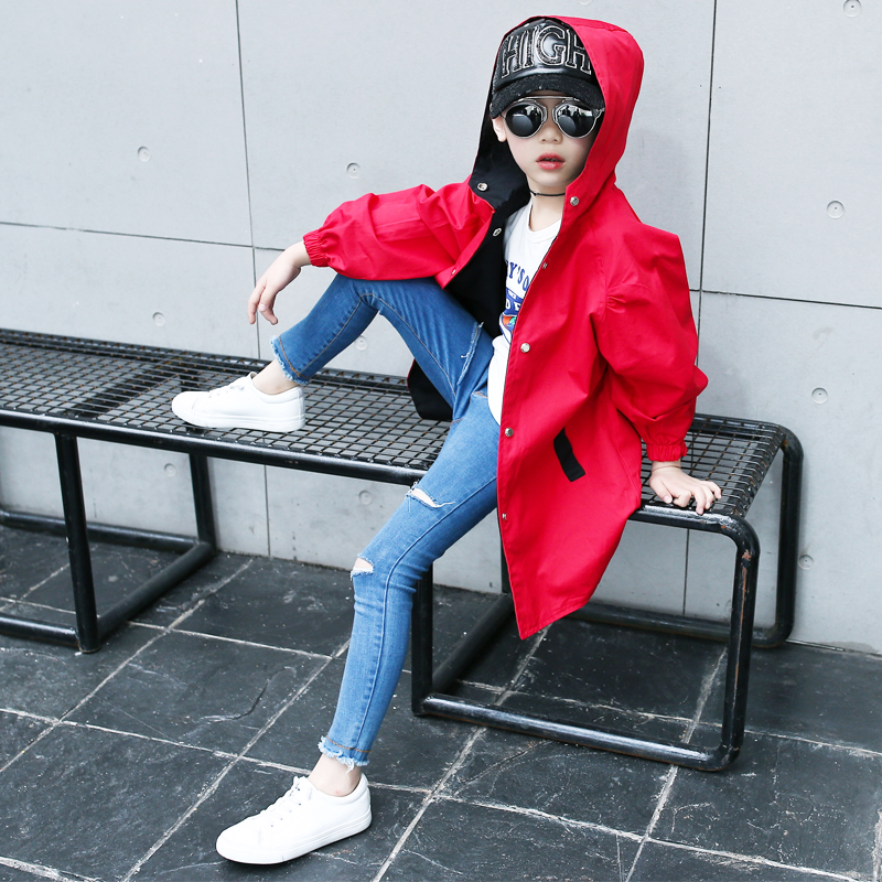 ФОТО 4 5  6 7 8 9 10 11t Trench Coat For Girls Girls 2017 Girls Coat Autumn Children Jackets Long Sleeves Cartoon Jacket Girl Clothes