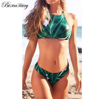 2017 Sexy High Neck Bikini Swimwear Women Swimsuit Brazilian Bikini Set Green Leaves Halter Backless Beach