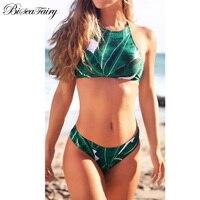 2017 Sexy High Neck Bikini Swimwear Women Swimsuit Brazilian Bikini Set Green Leaves Halter Backless Beach