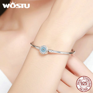 Image 5 - WOSTU 100% 925 Sterling Silver The Eye Of Samsara Bangle For Women Fit DIY Charm Bracelets Fashion Jewelry CQB012