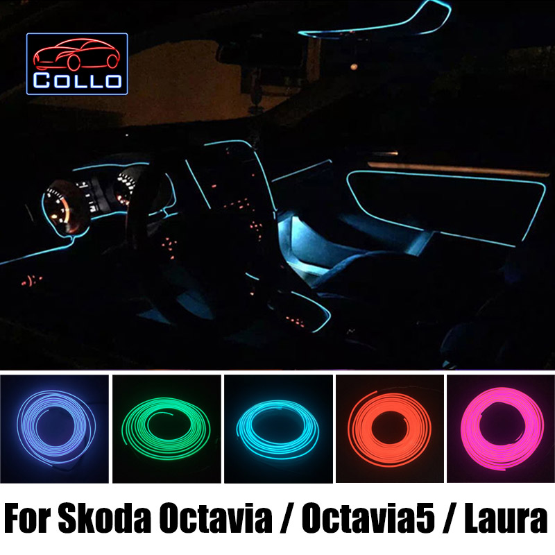 Car styling 9 meter el wire for skoda octavia ii a5 for Interieur verlichting auto