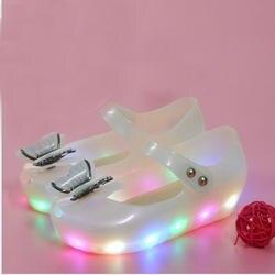 MERI AMMI Дети Девочка светодиодный насыщенные цветом сандалии мини обувь ПВХ мягкая обувь с облегченной подошвой девушки лук обувь