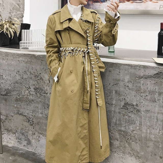 Patwork Long Trench Coat Men Loose Fit Personality Retron Trench